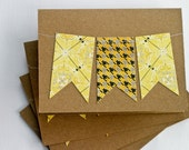 Stationery Cards Set with Bunting in Yellow