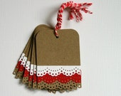 Christmas Gift Tags with Red and White Lace Trim