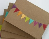 Rainbow Stationary, Kraft Paper Cards, Bunting Flag Notecards, Wedding Thank You Notes, Whimsical Greeting Cards, Birthday Card 10 Pack