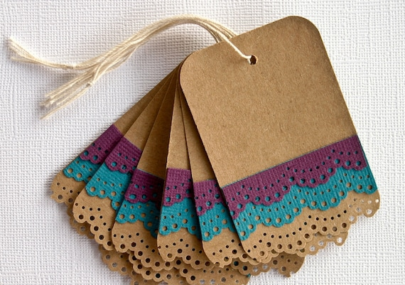 Christmas Gift Tags with Teal and Purple Lace