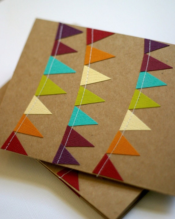 Bunting Flag Cards, Kraft Paper Cards, Thank You Notes, Rainbow Stationery, Teacher Cards, Birthday Card Pack, Colorful Stationary,