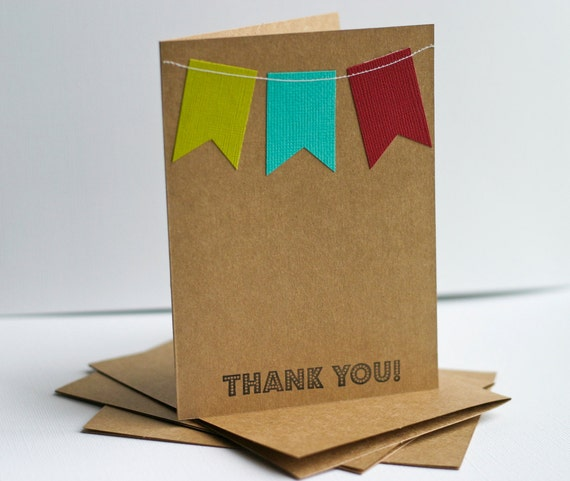 Thank You Cards Set with Bunting Flag