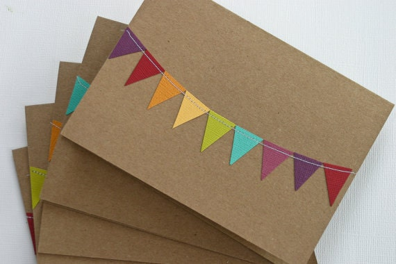 Wedding Thank You Cards Bridal Shower Notecards Kraft Paper Pack Rainbow Bunting Flag Stationery Colorful Greeting Card Set 50 Pack Cards