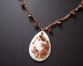 Clearance,   Bird Necklace, Mother of Pearl with Hand-painted Bird, Gold and Bronze, Sparkle, Shine, OOAK