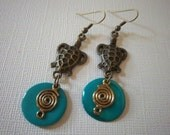 Sea Turtle Earrings, Dangle Earrings, turquoise shell rounds, golden bronze coils