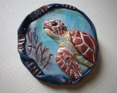 Sea Turtle Brooch, Polymer Clay, Nautical Brooch,  Sea Life, Blue Brooch, One-of-a-Kind Brooch