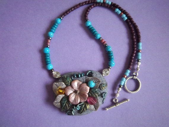 Hibiscus Necklace, Mixed Media, Polymer Clay, Silver Leaves, Turquoise, Pinks, Gardens