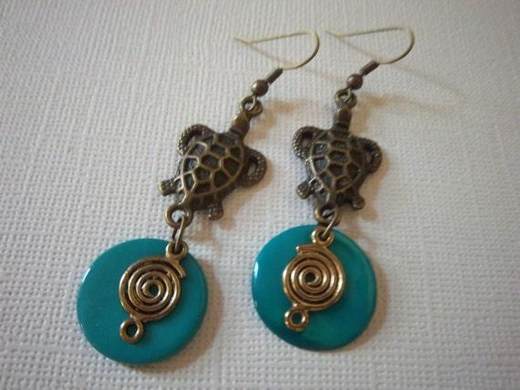 Sea Turtle Earrings, Dangle Earrings, turquoise shell rounds, golden bronze coils