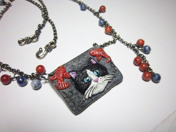 Cat Necklace, Black and White Cat, Cat with Fish, Cat Lovers Necklace, Polymer Clay