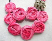 pink double stranded fabric rosette necklace