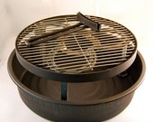 """BBQ camping Grill, Dutch Oven cooking, 5.5 """" legs, outdoors camp fire pit, handle ash pan set, wood, charcoal, MADE to ORDER"""