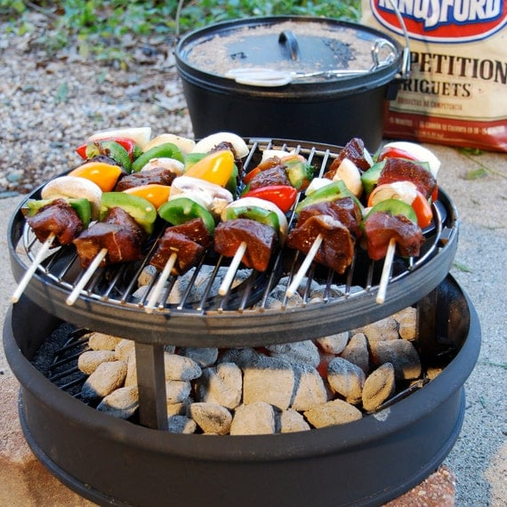 Campfire stand, firepit cooking w/ cast iron, Outdoorsmen or Hunter gift, outdoor gear gift idea