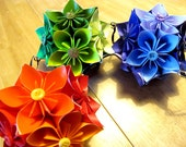 Prismatic Origami Kusudama Flower Hanging Balls Set (3), Paper Button Flowers, Blue, Green, Yellow
