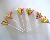 Chic Flower Cute Cupcake Toppers in Citrus Splash- Set of 6