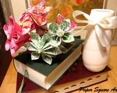 Handmade Polka Dot Party Pink Fuchsia Chic Paper Flower Arrangement (with glass vase)