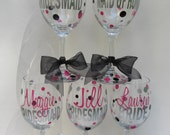 6 Personalized wine glasses- great for the wedding party, shower or bachelorette party