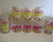 12 Personalized wine glasses or acrylic tumblers - mix and match - great for the wedding party, shower or bachelorette party