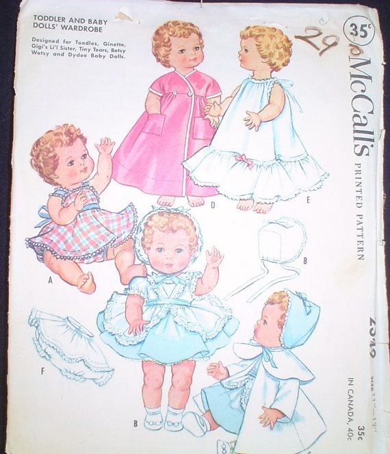 Toddler and Baby Doll wardrobe pattern