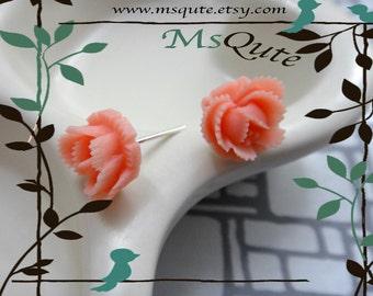 Petite rose  stud earrings -Pinkish