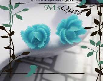 Petite rose  stud earrings - turquoise blue