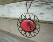 Red Willow Tree Necklace Bronze Filigree Pendant Original Painting Print - Gramma's