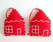 Felt Ornament Set Miniature House Red Home Decor