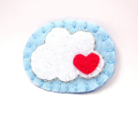 Felt Brooch Cloud Felt Pin Every Cloud Has a Silver Lining with Red Heart Sale