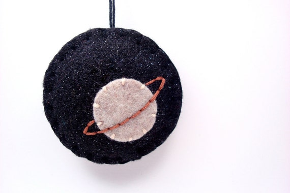 Felt Ornament Saturn in Space Home Decor Housewares Outer space Galaxy Planets Science