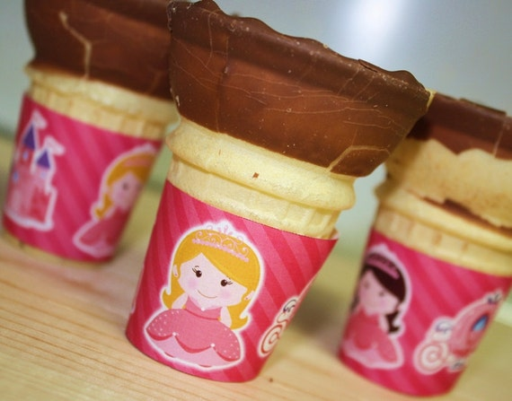 CUSTOM ORDER ice cream cone wraps wrappers labels Pink Princess Party Favors file for flat bottom cones