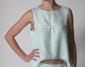 Linen Light Mint Cropped Pajama Top with Handkerchief Side Corners
