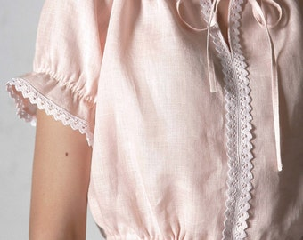 Pure Linen Cropped Pajama Top for Woman