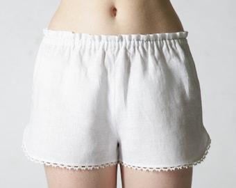 Linen Sleep Shorts for Woman/ Linen Laced Shorts/ Flax Sleepwear/ Linen Bloomers/ Linen Lingerie/ Flax Underwear