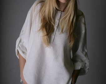 Oversized  Linen White Shirt for Woman/  Linen blouse longsleeve/ Linen top