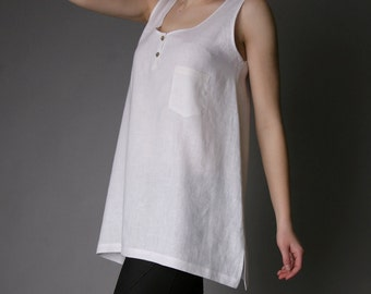 Pure Linen Sleeveless Tunic with Pocket