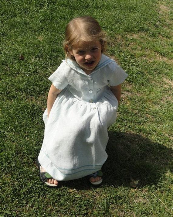 Vintage inspired Sailor linen dress for girl