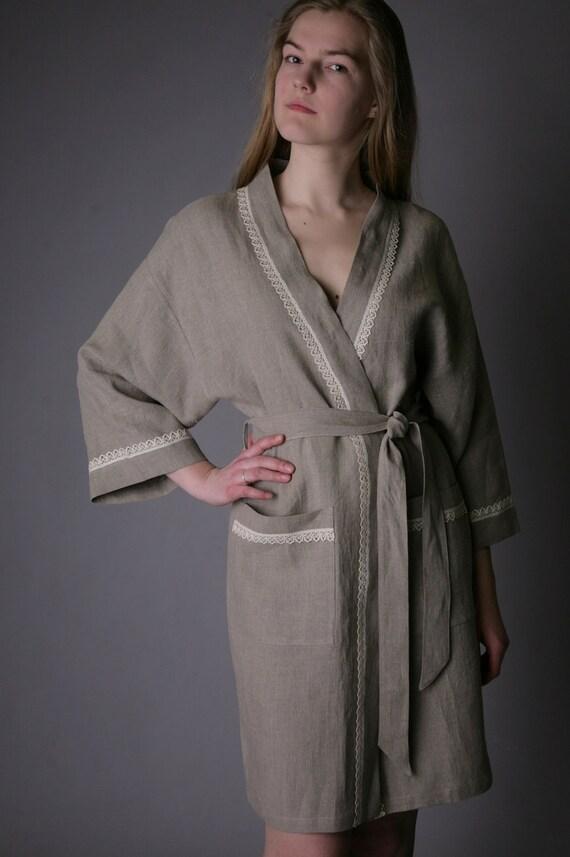 Linen Eco Friendly Natural Bath/Night Robe Short/ Linen Gown/ Linen Laced