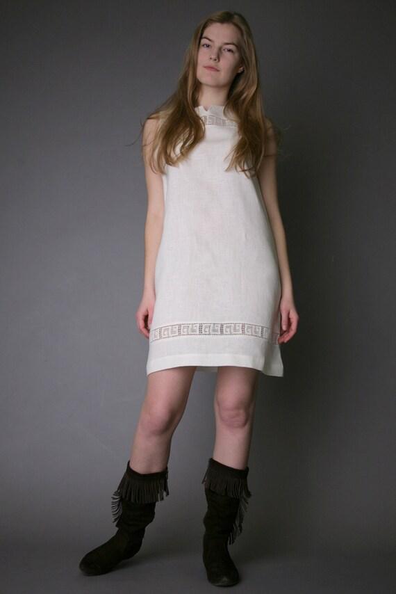 Pure Linen Short Sleeveless Dress - Tunic Laced - Antiq Collection