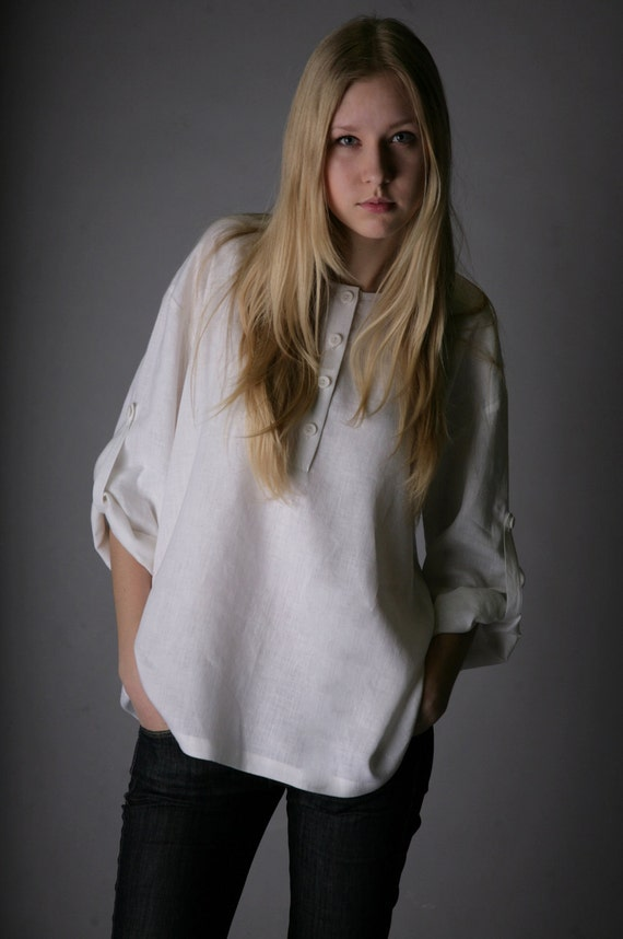 Oversized Pure Linen Shirt for Woman