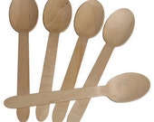 24 Disposable Wooden Ice Cream Soup  Spoons For Birthday Favor Party Cups