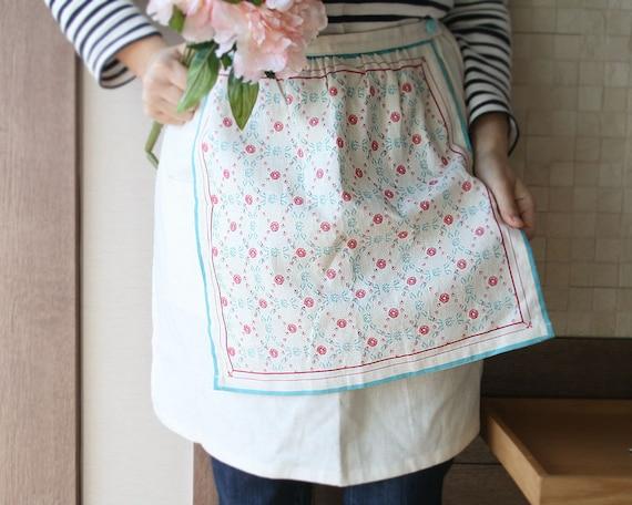 Linen Double Layered Cafe Apron 1 (with Detachable Tea Towel)