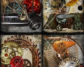 Steampunk Machines 4.25 x 5.5 Cards Digital Collage Sheet Printable Image 6004