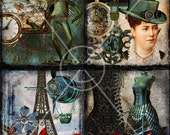 Steampunk 4.25 x 5.5 Cards Digital Collage Sheet Printable Image 6002