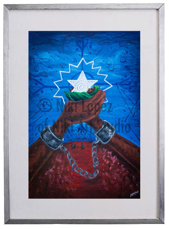 "Juneteenth archival print- 'Olokun'- 5""x7"" Archival limited edition framed print."