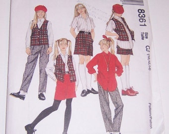 McCalls 1996 Uncut Girls Lined Vest Shirt Pull On Pants And Pull On Skirt Size 10 12 14 Pattern Number 8361