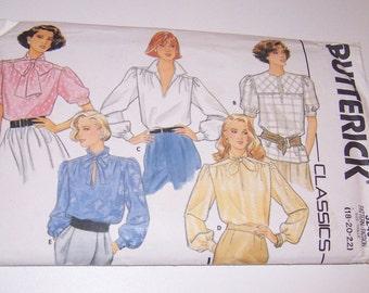 Vintage Butterick 1985 Uncut Classics Misses Blouse Sizes 18 20 22 Pattern Number 3240