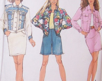 Simplicity 1991 Uncut Misses' Skirt Flared Shorts And Unlined Jeans Style Jacket Sizes 12-16 Pattern Number 7628