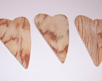 Cottage Chic Primitive Hearts Cutouts, Upcycled Unfinished Wood Set of Three 6 Inches Tall Great for Bride And Groom