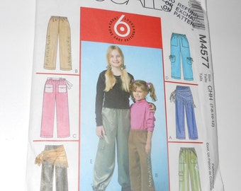 McCalls Girls Pants, Sash And Scarf Six Great Looks UNCUT Year 2004 Sizes 7 8 10 12 Pattern Number 4577