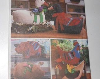 Vintage Simplicity Crafts Set Of Stuffed Animals - One Size UNCUT Year 1988 Pattern Number 8538