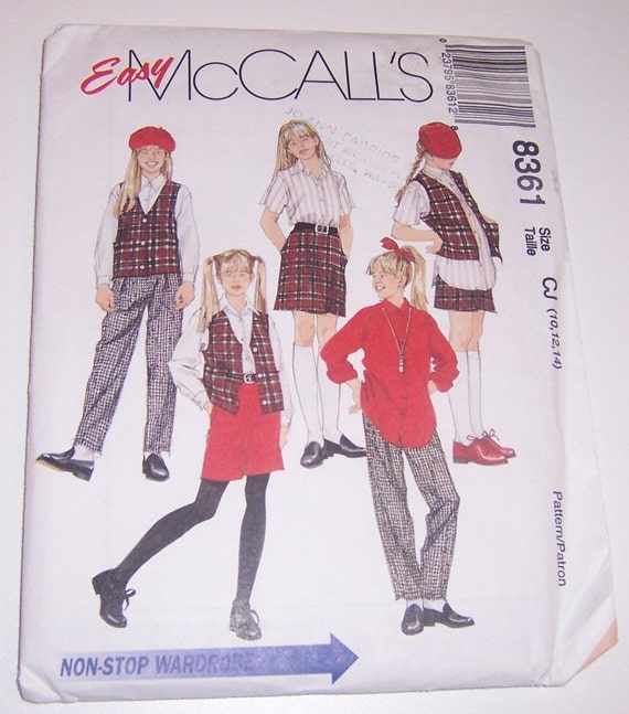 McCalls 1996 Uncut Girls Lined Vest Shirt Pull On Pants And Pull On Skirt Size 10 12 14 Pattern Number 8361 - Sewing Pattern